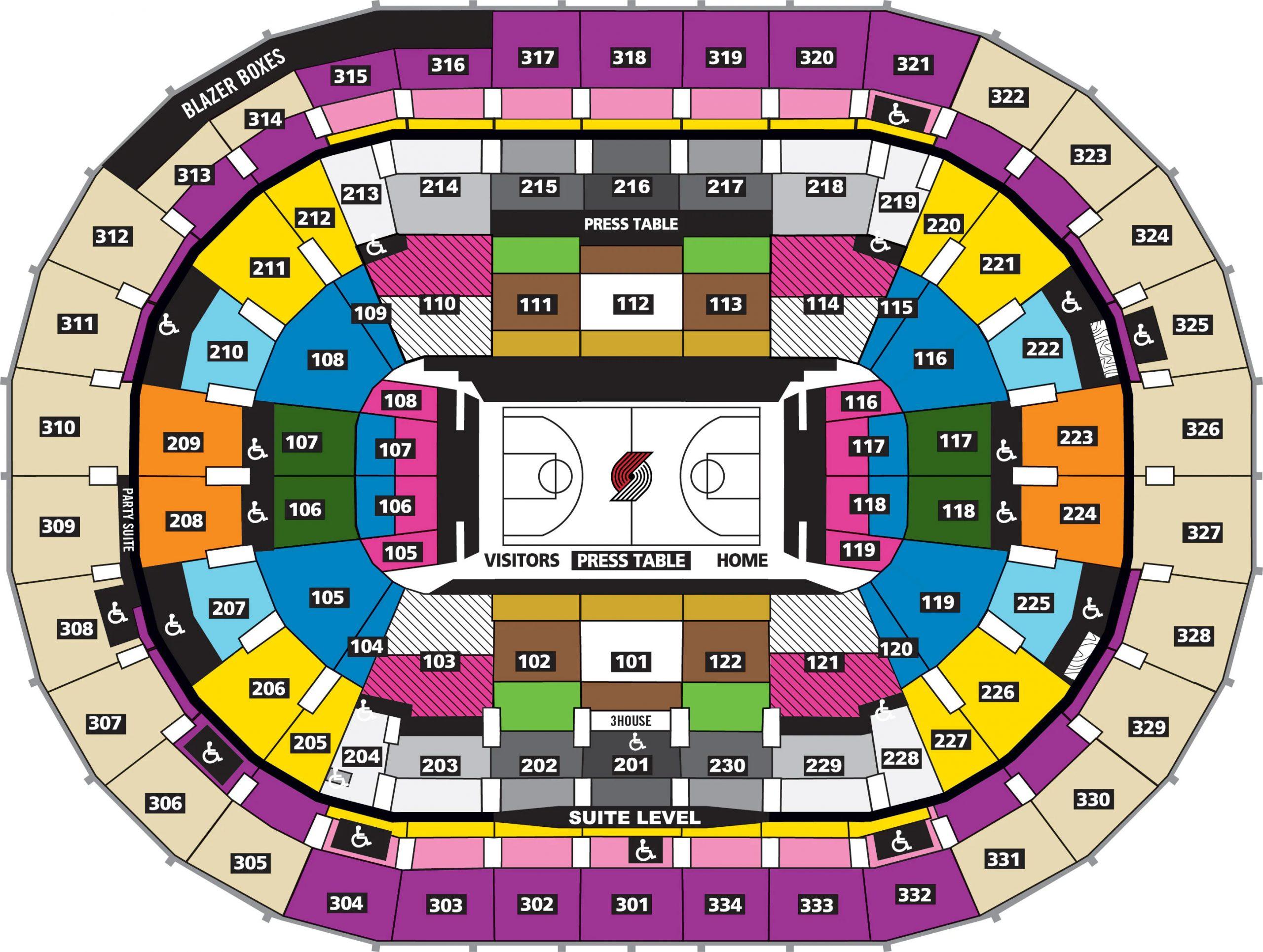 Moda Center Seating Plan